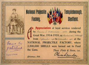 Certificate of Appreciation (Sep 1916 to Dec 1918) awarded to Frances L. Dickinson