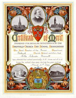 Certificate of merit awarded for regular attendance by the Sheffield Church Day School
