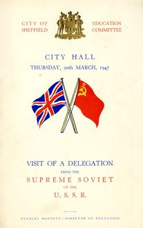 Cover of the programme for visit of a delegation from the Supreme Soviet of the USSR programme