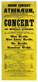 Grand concert at the Athenaeum, Surrey Street: Mr Ryalls respectfully announces that