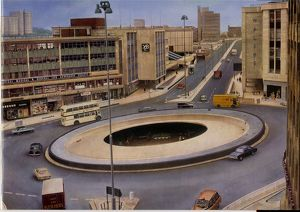 Elevated view of The Hole in The Road, Castle Square showing Midland Bank (left)