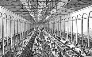 Interior of Norfolk Market Hall, 1862. In the centre was a fountain of Green Moor stone