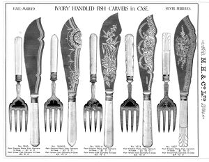 Ivory handled fish carvers manufactured by Martin, Hall and Co Ltd., Silversmiths