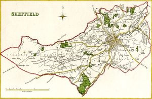 Map of Sheffield by R. Creighton, c. 1835
