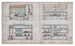 New Central Library and Art Gallery building, Surrey Street - sections, 1930