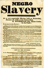 posters/notice entitled negro slavery report respectable