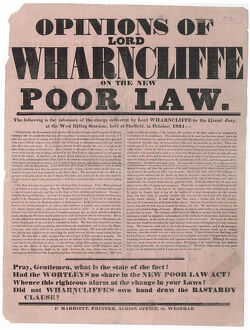 posters/opinions lord wharncliffe new poor law 1834