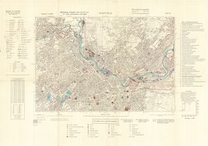 Ordnance Survey map of north east Sheffield copied by the Germans, and marked with