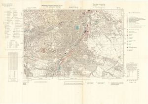 Ordnance Survey map of south Sheffield copied by the Germans, and marked with bombing