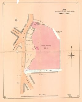 Plan of building land near Pond Street to be sold by auction, 1860