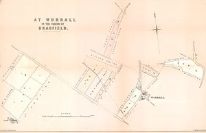 Plan of land and property at Worrall in the parish of Bradfield for sale, 1853