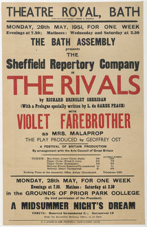theatre playbills/playbill the rivals performed sheffield repertory