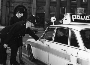 people/policeman policewoman police car sheffield 1972