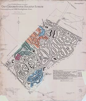 Preliminary layout and development plan of the Manor Estate Housing Scheme, 1924