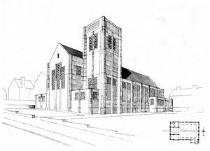 Architects drawing of proposed church, Bellhouse Road, Shiregreen, 1932