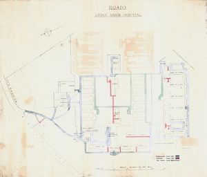 Roads at Lodge Moor Hospital: A plan showing carriageways and ash paths, early 20th cent