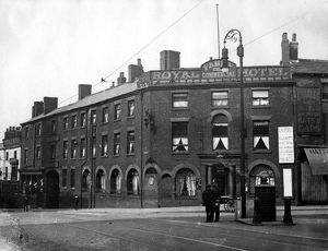 Royal Hotel, Waingate (left) and corner of Exchange Street (right), photographed from Haymarket