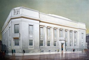 Sheffield Central Library and Art Gallery - watercolour by Frank Waddington, 1934