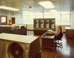 Early computer room, possibly in the Town Hall, 1970s