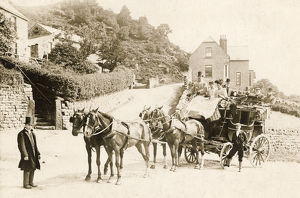 Sheffield-Manchester horse drawn coach at Hollow Meadows, c. 1890