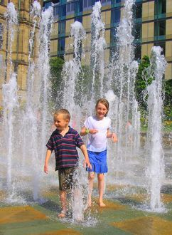 Children playing in the Peace Gardens fountains, 2007