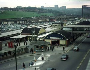 Elevated view of Pond Street Bus Station, 1960s