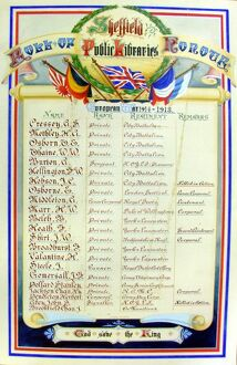 Sheffield public libraries roll of honour