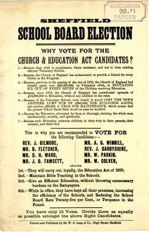 posters/sheffield school board election vote church
