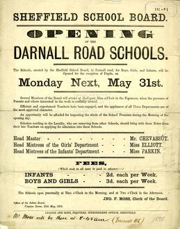 Sheffield School Board - opening of the Darnall Road Schools for boys, girls and infants