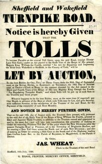 Sheffield and Wakefield Turpike Road - tolls to be let by auction, 1836