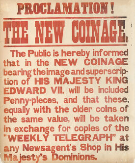 posters/newspaper posters/sheffield weekly telegraph poster new coins king