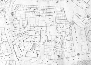 Site of Sheffield Castle as shown on Ordnance Survey map, 1890