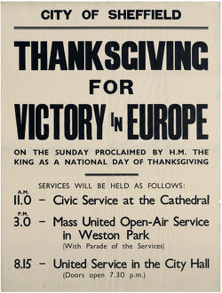 posters/thanksgiving victory europe ve day sheffield