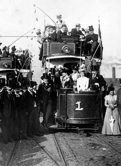 Tram No.1 at Tinsley showing (centre) Lord Mayor, Alderman Samuel Roberts JP (1852-1926)