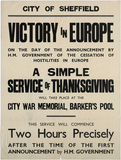 world war/victory europe ve day thanksgiving service