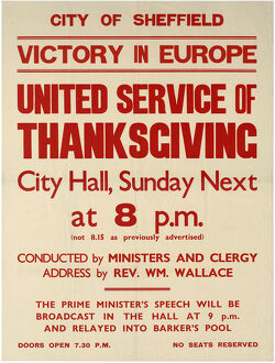 world war/victory europe ve day united service thanksgiving