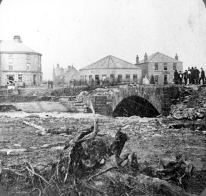 Sheffield Flood at Hillsborough Bridge over River Loxley, Langsett Road. Shakespeare Hotel