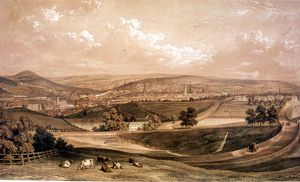 West View of Sheffield by William Ibbitt, New Dam in foreground, Old Great Dam in background