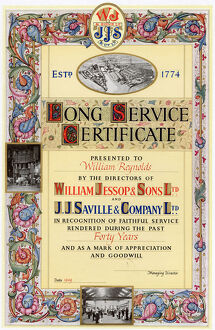 Long service certificate awarded to William Reynolds by the directors of William Jessop