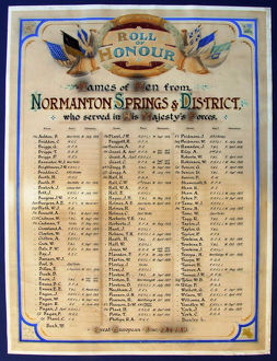 orld War One roll of honour: Normanton Springs, Sheffield, c. 1920
