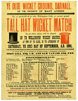 Ye Olde Wicket Ground, Darnall - Tall Hat Wicket Match, 1894